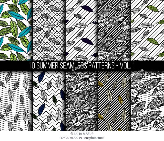 Simple seamless tropical jungle floral background set hand-drawing doodle leaves, diagonal striped texture. Summer pattern for your clothes, typography
