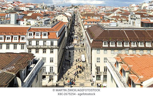 Rua Augusta in the Baixa. Lisbon (Lisboa) the capital of Portugal. Europe, Southern Europe, Portugal, March