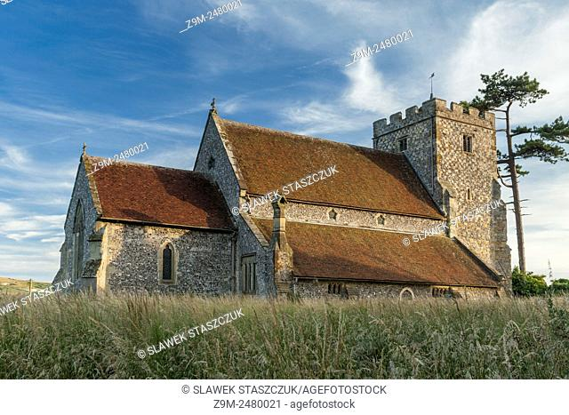 Summer evening at St Andrew church in Beddingham village, East Sussex, England, United Kingdom. South Downs National Park
