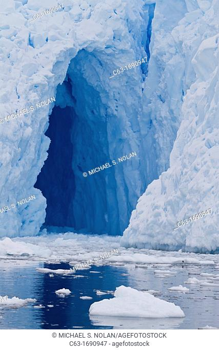 View of tidewater glacier cave found deep inside Neko Harbor on the western side of the Antarctic Peninsula, Southern Ocean