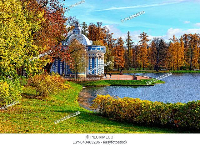 """View to the """"""""Grot"""""""" pavillion in Catherine garden. Autumn landscape in Pushkin, Russia"""