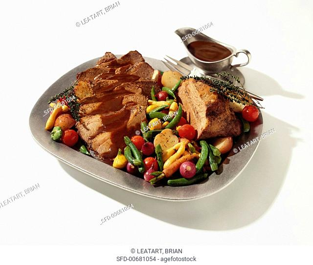 Sliced Roast Beef with Gravy and Roasted Vegetables