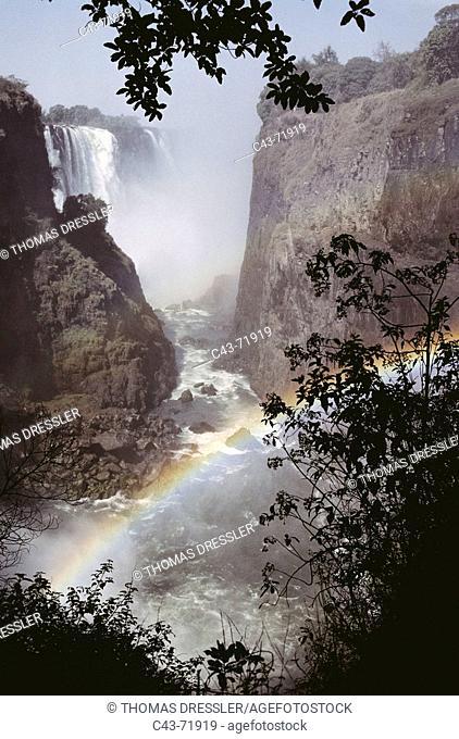 Victoria Falls, Zambezi River falls. Zimbabwe/Zambia