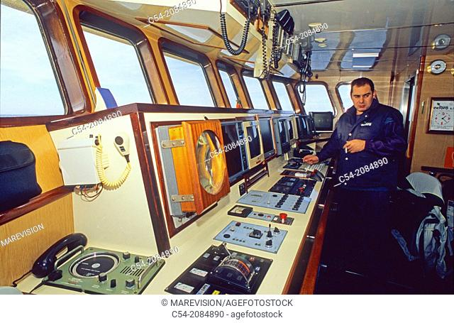 Life on board in a trawler. Wheelhouse. Eastern Atlantic. Galicia. Spain