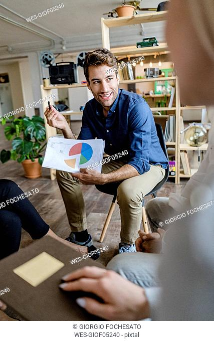 Businessman leading a presentation in loft office