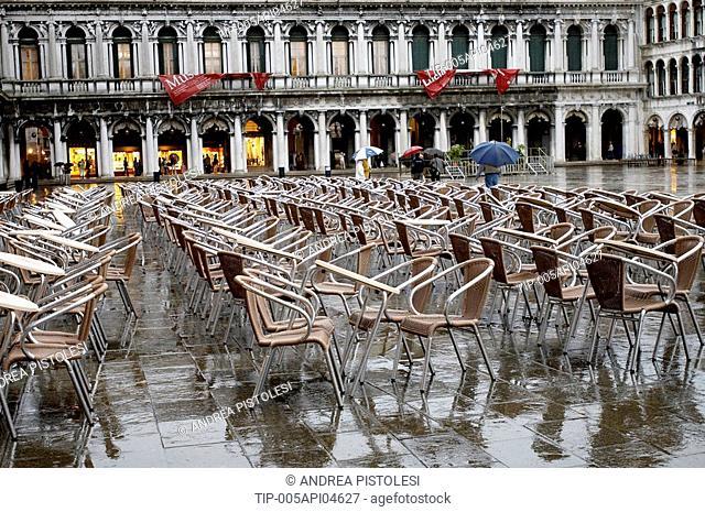Italy, Veneto, Venice, Piazza San Marco in a raining day