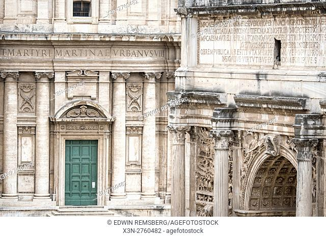 Rome, Italy- Close up of Santi Luca e Martina, one of the many churches situated in Rome. It is located between the Roman Forum and the Forum of Caesar and...