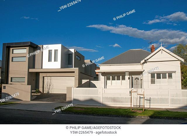 Clashing architectural styles in the Melbourne suburb of Caulfield