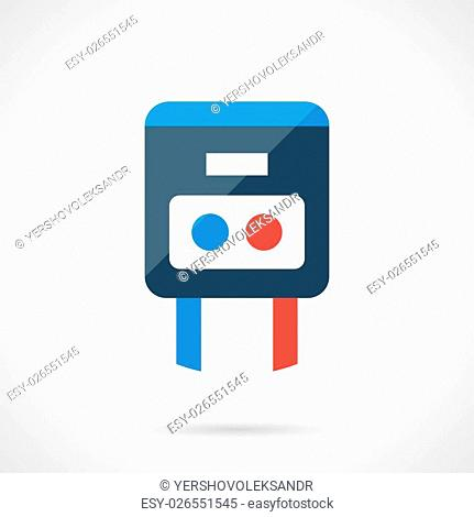 Simple temperature regulator with blue and red buttons or knobs. House climate control, heating system and warm floor element