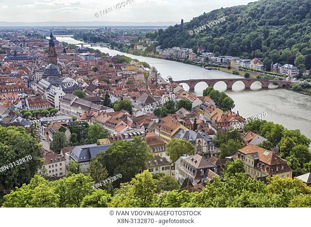 Neckar river and old city from the castle gardens, Heidelberg, Baden-Wurttemberg, Germany