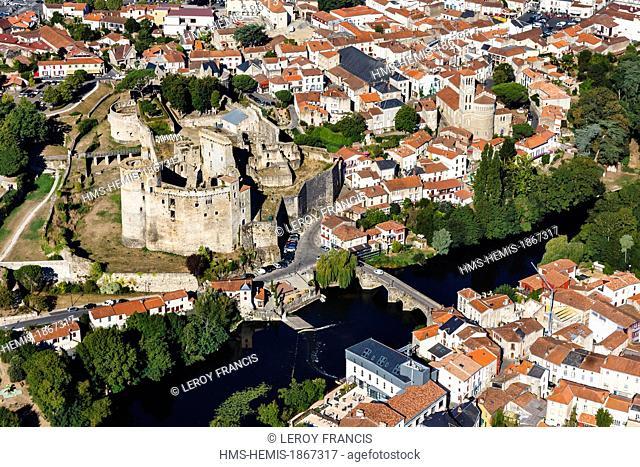 France, Loire Atlantique, Clisson, the Sevre Nantaise, the town, Pont de la vallee and the castle 13th-15th century (aerial view)