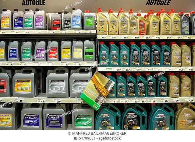 Car oils, hardware store, Germany