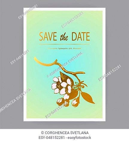 Botanical wedding invitation card template design, hand drawn sakura flowers and leaves on branches, vintage rural cherry blossom on green background