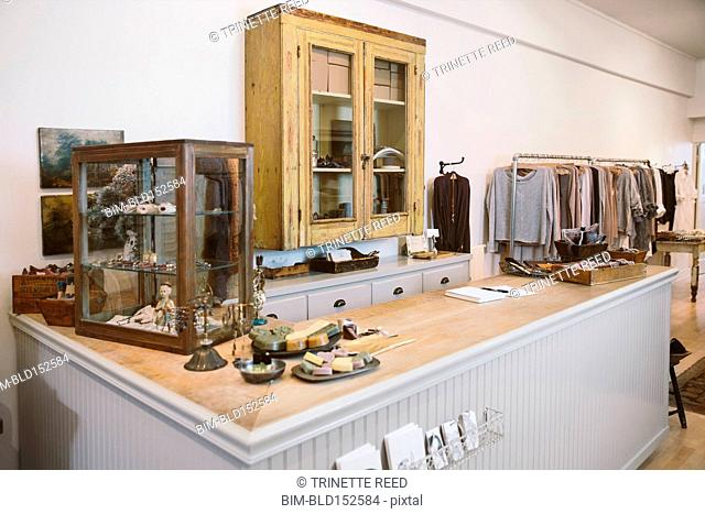 Counter and cabinets in empty clothing store