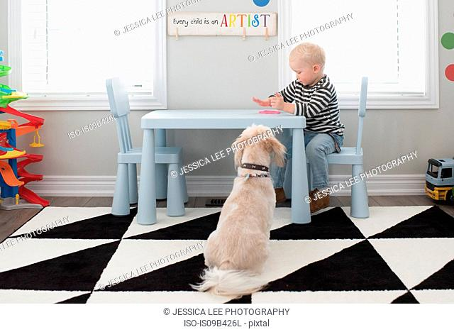 Young boy playing with pink dough on table, dog sitting beside table, watching