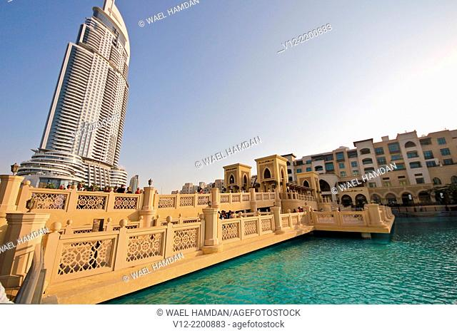 Lake and a luxury hotel, The Address the Dubai Mall in Dubai, UAE