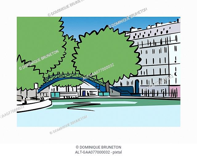 Illustration of Canal Saint-Martin in Paris, France
