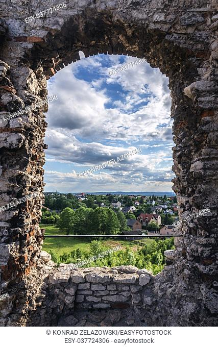 Podzamcze village seen from ruins of Ogrodzieniec Castle, part of the Eagles Nests castle system in Silesian Voivodeship of southern Poland