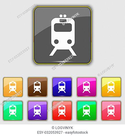 train icon sign. Set with eleven colored buttons for your site. illustration