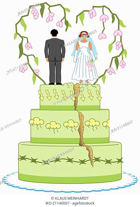 Angry bride and groom on top of split wedding cake