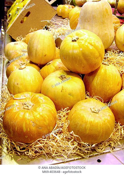 Pumpkins. La Boquería market. Barcelona. Spain