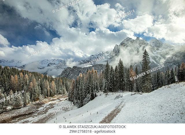 Early November snow in the Dolomites near Cortina d'Ampezzo, Belluno province, Veneto, Italy. Dolomites