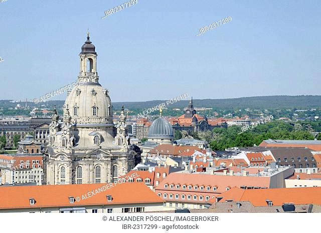 View of Frauenkirche, Church of Our Lady, from the tower of Kreuzkirche, Church of the Holy Cross, Dresden, Florence of the Elbe, Saxony, Germany, Europe