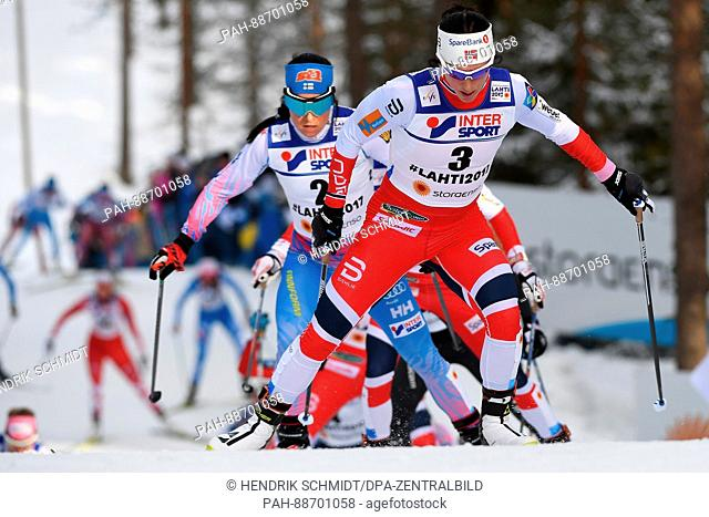 Marit Björgen from Norway in action at the women's cross country event at the Nordic Ski World Championship in Lahti, Finland, 04 March 2017