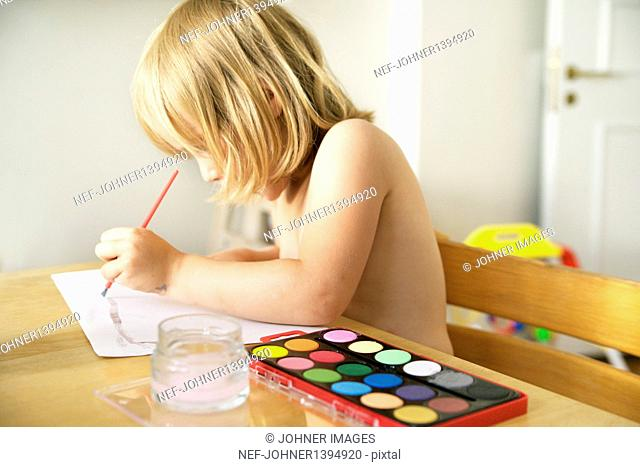 Girl painting picture