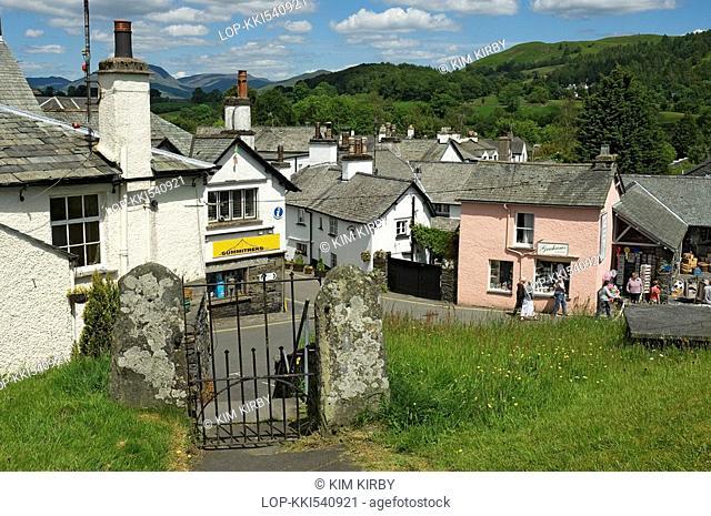 England, Cumbria, Hawkshead, Looking down into the village of Hawkshead