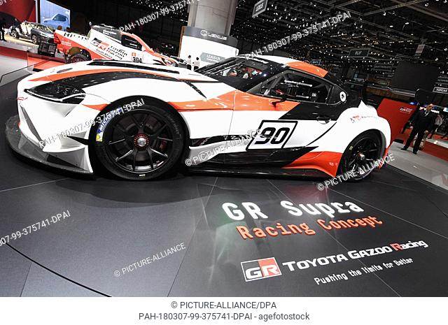 07 March 2018, Switzerland, Geneva: A Toyota GR Supra Racing Concept is on display during the 2nd Press Day at the 2018 Geneva Motor Show