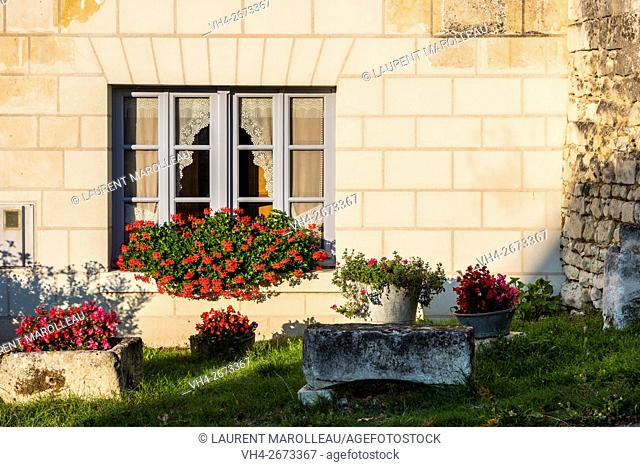 Typical Tufa House at Crissay-sur-Manse, Labeled The Most Beautiful Villages of France. Indre-et-Loire, Centre region, Loire valley, France, Europe