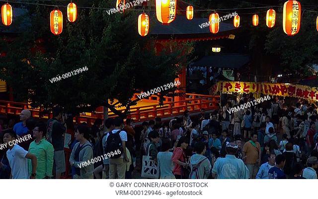 Hanazono Festival at night in Tokyo, Japan