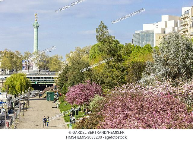 France, Paris, the port of the Arsenal in the spring and the column of the Bastille