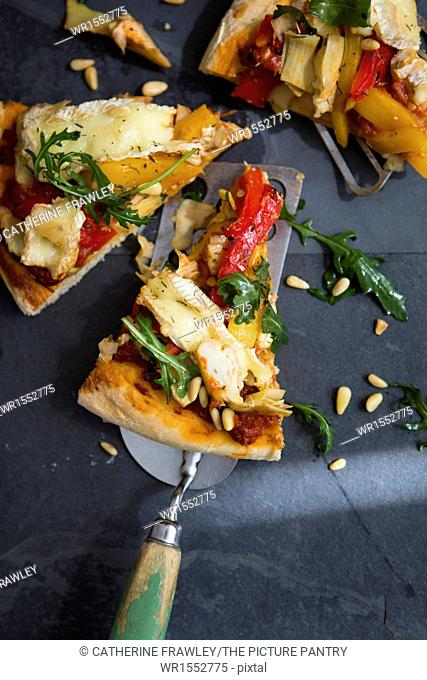 Homemade Vegetarian Pizza with Peppers, Brie & Rocket