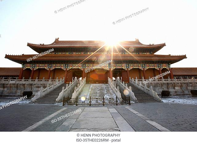 Ornate Chinese building with courtyard