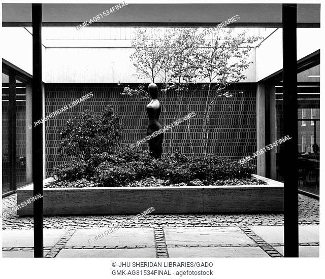 View of internal courtyard, with a sculpture and landscaped trees and shrubbery, in the Milton S Eisenhower library of Johns Hopkins University, in Baltimore