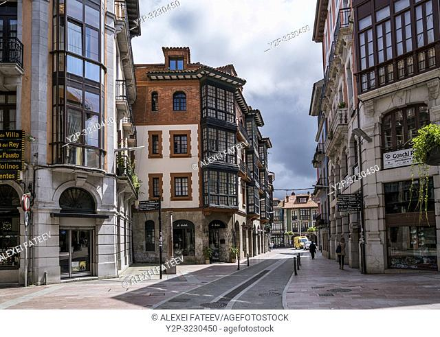 Streets of Llanes, small town in Asturias, Spain