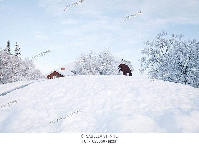 Low angle view of houses on snowy hill against sky
