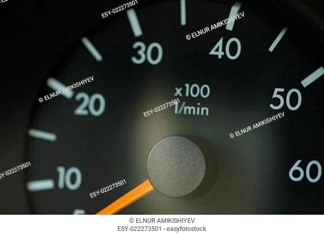 Close-up on the car speedmeter