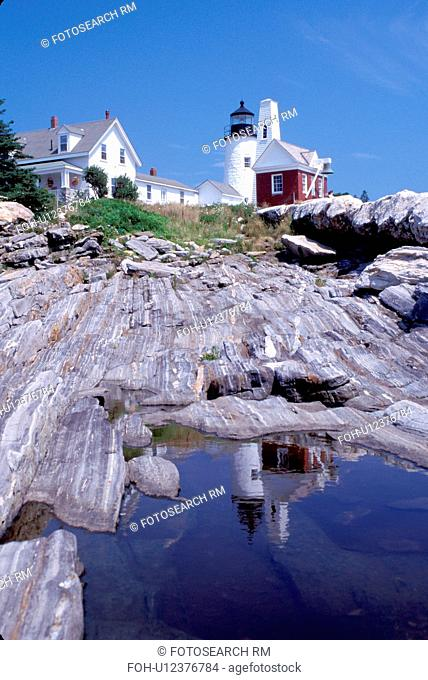 lighthouse, Maine, Pemaquid Point, Bristol, ME, Pemaquid Head Light reflects in a pool of water along the rocky coast of the Atlantic Ocean