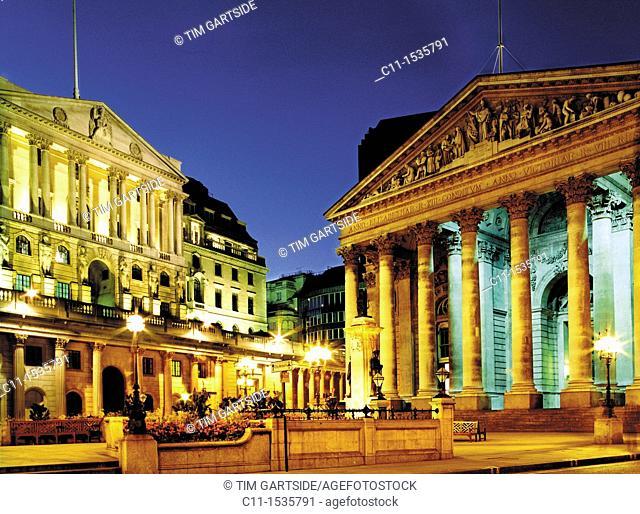 corn exchange, bank of england, london, night, england, uk, europe