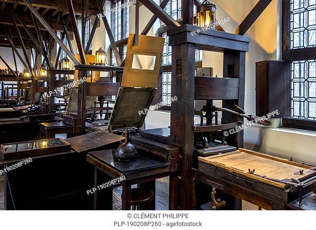 Print shop showing 18th century and 17th century printing presses in the Plantin-Moretus Museum / Plantin-Moretusmuseum, Antwerp, Belgium