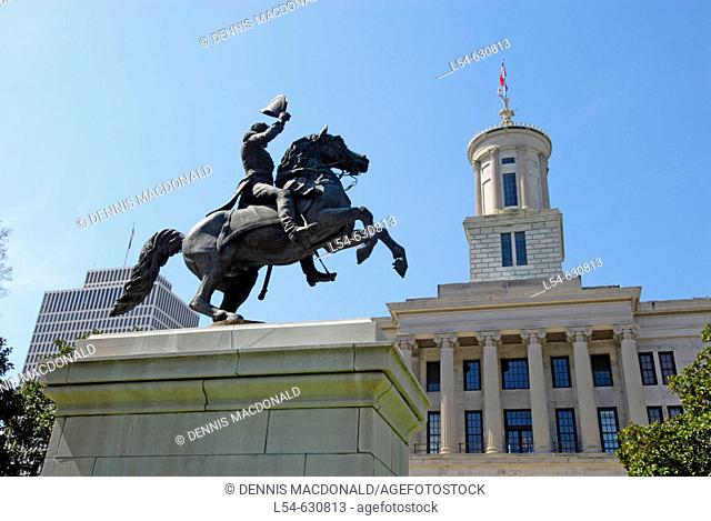 Statue of Andrew Jackson at State Capitol and Surrounding Statues and Monuments Nashville Tennessee. USA