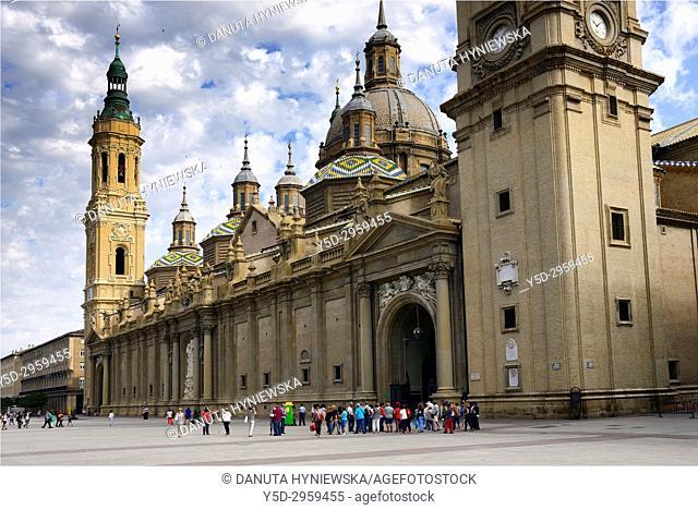 Basilica of Nuestra Señora del Pilar, Plaza Pilar, Zaragoza, Saragossa, Aragon, Spain, Europe