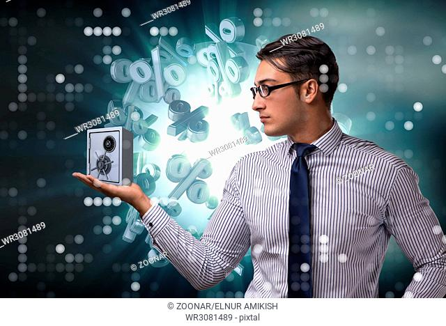 Businessman in security concept with safe