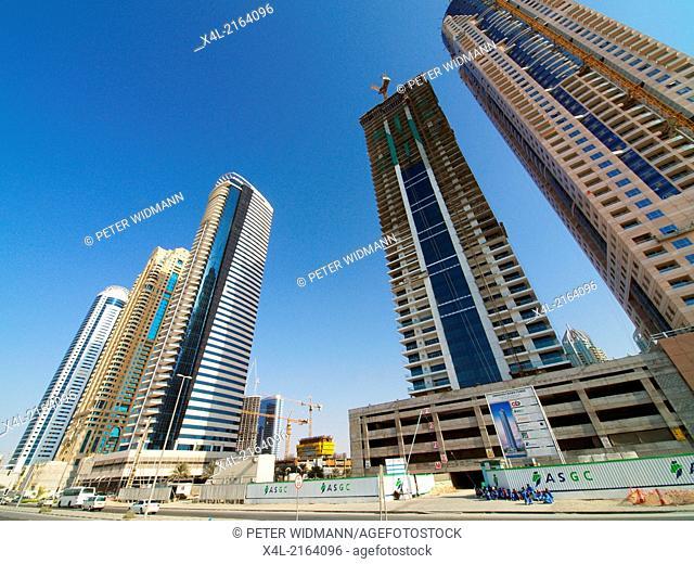 Dubai Marina, construction site of Emirates Crown Tower, United Arab Emirates, Dubai