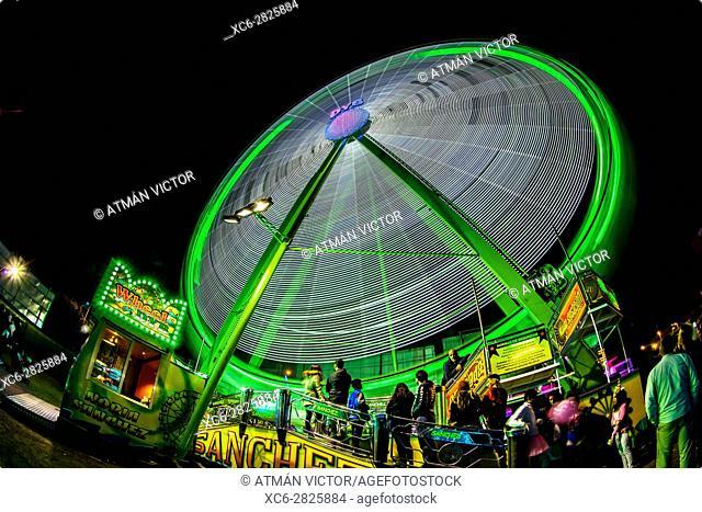fairground attraction during the night in Santa Cruz de Tenerife carnival