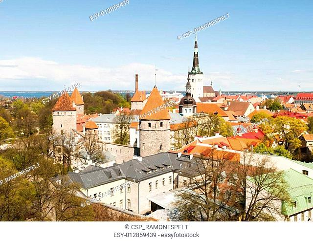 Scenic panorama of the Old Town in Tallinn