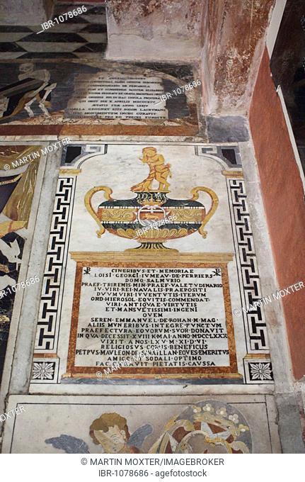 Marble slab with inscription on the floor, St. John's Co-Cathedral, Valletta, Malta, Europe